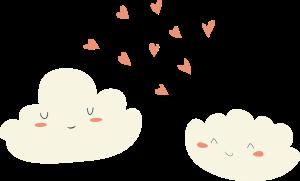 Två glada moln med hjärtan och hjärtan.